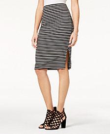 BCX Juniors' Striped Side-Slit Skirt