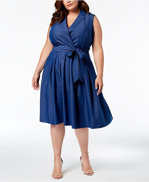 Anne Klein Plus Size Denim Wrap Dress & Reviews - Dresses - Plus ...