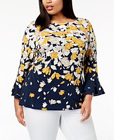 Charter Club Plus Size Floral-Print Ruffle Cuff Top, Created for Macy's