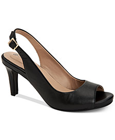Giani Bernini Laycee Memory-Foam Peep-Toe Slingback Pumps, Created for Macy's
