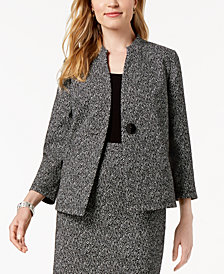 Kasper One-Button Knit Jacquard Jacket, Regular & Petite Sizes