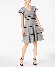 Taylor Plaid Flutter-Sleeve Fit & Flare Dress