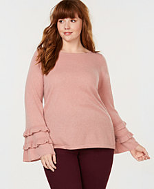 Charter Club Plus Size Pure Cashmere Double-Ruffle Sweater, Created for Macy's