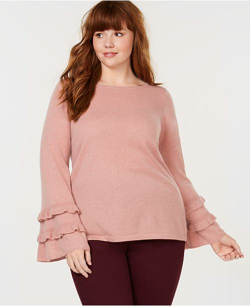 a63d5e434cee8 ... Charter Club Plus Size Pure Cashmere Double-Ruffle Sweater