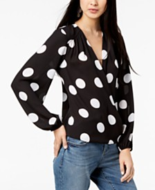 I.N.C. Dot-Print Surplice Top, Created for Macy's