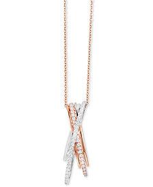 "EFFY® Diamond Crisscross 18"" Pendant Necklace (1/3 ct. t.w.) in 14k Rose & White Gold"