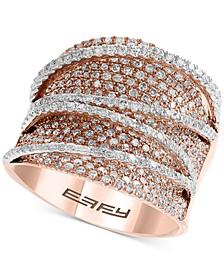 EFFY® Diamond Pavé Statement Ring (1-5/8 ct. t.w.) in 14k Rose & White Gold