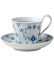 Blue Fluted Plain High Handle Cup & Saucer