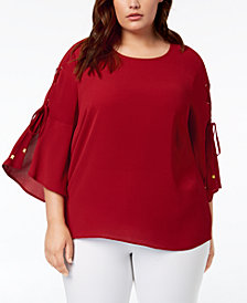 MICHAEL Michael Kors Plus Size Lace-Up-Sleeve Top