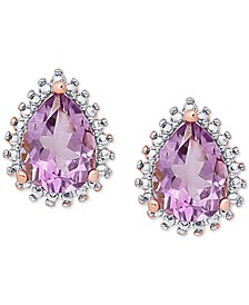 Amethyst (1-3/4 ct. t.w.) & Diamond Accent Teardrop Stud Earrings in 18k Rose Gold-Plated Sterling Silver