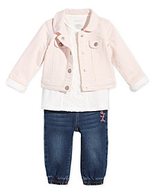 First Impressions Baby Girls Denim Jacket, Crochet-Detail Tunic & Jogger Jeans, Created for Macy's