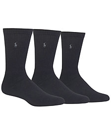 Polo Ralph Lauren 3 Pack Ribbed Cushion Foot Crew Men's Socks