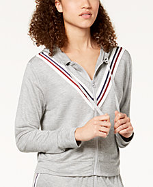 Ultra Flirt by Ikeddi Juniors' Striped Front-Zip Hoodie