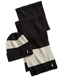 Polo Ralph Lauren Men's Ruby Stripe Hat & Scarf Gift Set