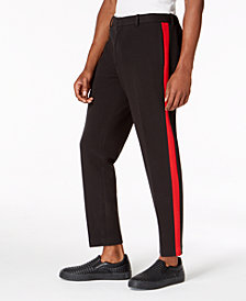 "I.N.C. Men's Slim-Fit Side Stripe 28.5"" Inseam Cropped Knit Pants, Created for Macy's"
