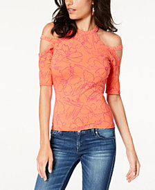 GUESS Pandie Fitted Cold-Shoulder Top