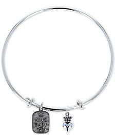 Women's Crown Heart & Logo Adjustable Bangle Bracelet in Sterling Silver