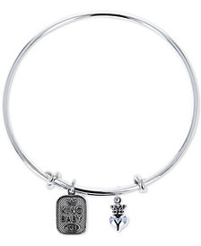 King Baby Women's Crown Heart & Logo Adjustable Bangle Bracelet in Sterling Silver