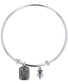 King Baby Women's Crown Heart & Logo Adjustable Bangle Bracelet in Sterling Silver