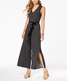 Monteau Petite Striped Split-Leg Jumpsuit