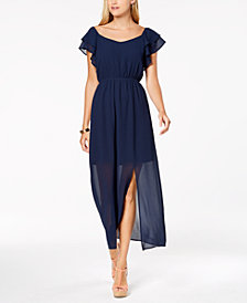 Monteau Petite Flutter-Sleeve Maxi Dress, Created for Macy's