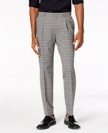 I.N.C. Men's Slim Tapered-Fit Stretch Plaid Pleated Pants, Created for Macy's