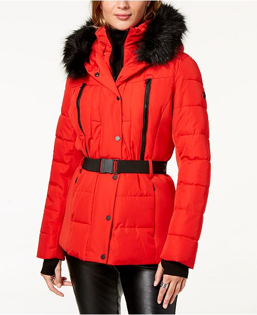 bcd03aaf28b Michael Kors Belted Faux-Fur-Trim Puffer Coat   Reviews - Coats ...