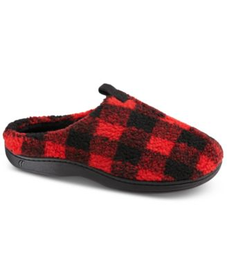 Isotoner Men's Berber Owen Plaid Hoodback Slippers With Memory Foam