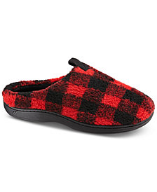 Isotoner Men's Berber Owen Plaid Hoodback Slippers