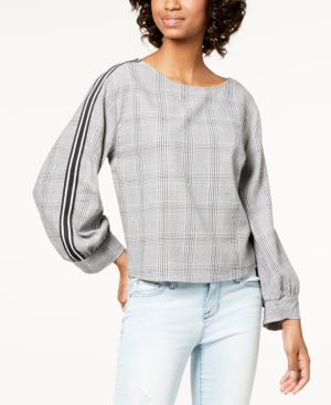 Image of 7 Sisters Juniors' Striped-Sleeve Top