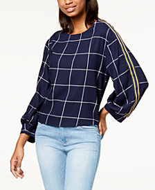 7 Sisters Juniors' Striped-Sleeve Top