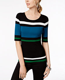 I.N.C. Petite Striped Elbow-Sleeve Sweater, Created for Macy's