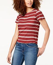 Hippie Rose Juniors' Striped Lettuce-Edge T-Shirt