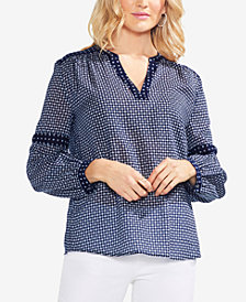 Vince Camuto Printed V-Neck Top