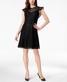 MICHAEL Michael Kors Lace Flutter-Sleeve Dress
