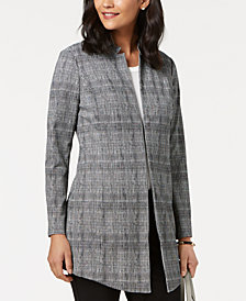 Alfani Petite Plaid Menswear A-Line Jacket, Created for Macy's