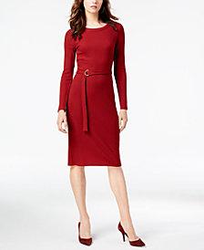 MICHAEL Michael Kors Ribbed Belted Dress