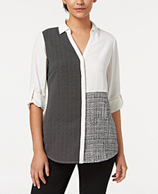 Alfani Colorblocked Split-Neck Blouse, Created for Macy's