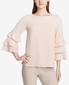 Calvin Klein Tiered Bell-Sleeve Textured Top