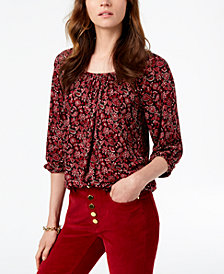 MICHAEL Michael Kors Printed Peasant Top, In Regular & Petite Sizes, Created for Macy's