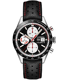 TAG Heuer Men's Swiss Automatic Chronograph Carrera Calibre 16 Black Leather Strap Watch 41mm
