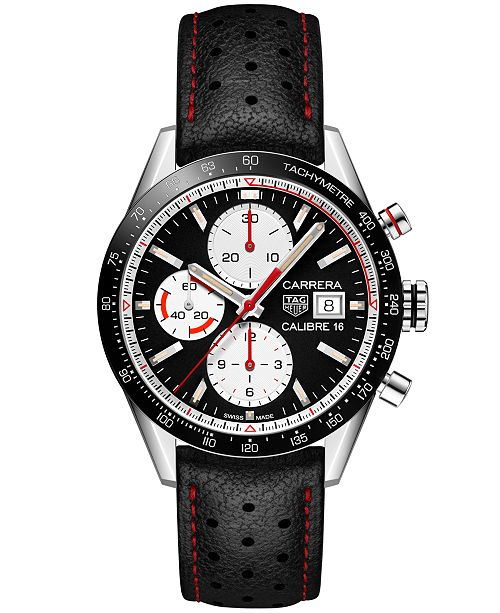 c423bc9860a2 ... TAG Heuer Men s Swiss Automatic Chronograph Carrera Calibre 16 Black  Leather Strap Watch 41mm ...