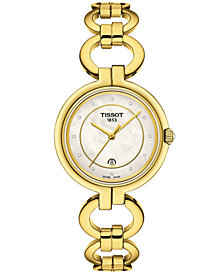 Tissot Women's Swiss T-Lady Flamingo Diamond-Accent Gold-Tone Stainless Steel Bracelet Watch 26mm