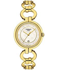 Tissot Women's Swiss T-Lady Flamingo Diamond-Accent Gold-Tone Stainless Steel Bracelet Watch 26mm