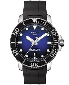 Tissot Men's Swiss Automatic Seastar 1000 Powermatic 80 Black Rubber Strap Watch 43mm