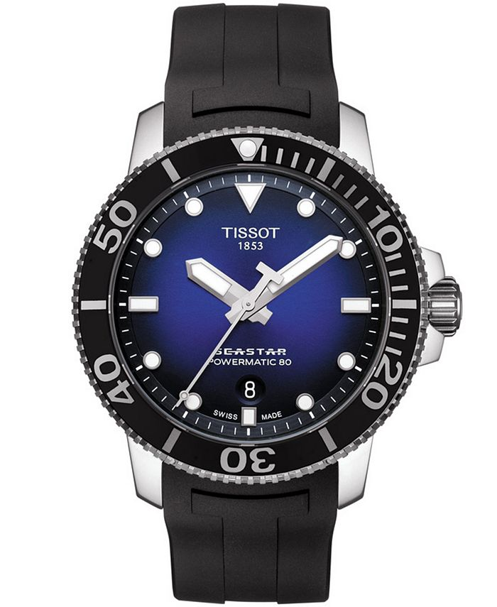 Tissot - Men's Swiss Automatic Seastar 1000 Powermatic 80 Black Rubber Strap Watch 43mm