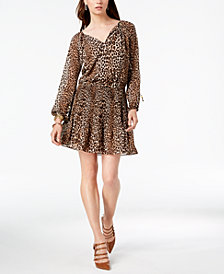 MICHAEL Michael Kors Leopard-Print Pleated Dress, In Regular & Petite Sizes