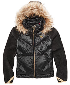MICHAEL Michael Kors Big Girls Jacket with Removable Faux-Fur-Trimmed Hood