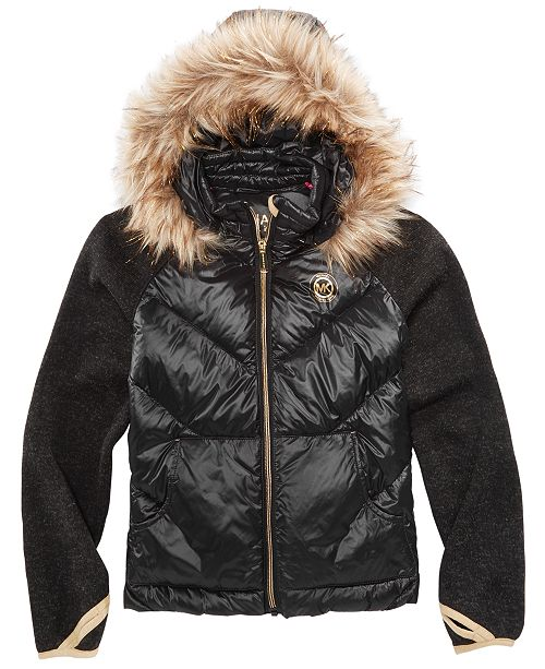 62fc48e42ab84 ... Michael Kors Little Girls Jacket with Removable Faux-Fur-Trimmed Hood  ...