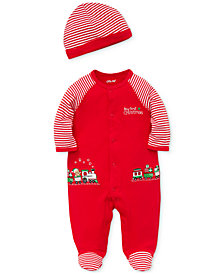 Little Me Baby Boys Cotton Train Footed Coverall with Hat